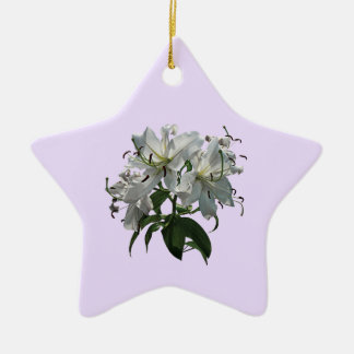 White Lilies Christmas Ornament