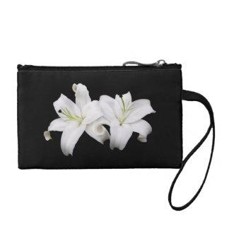 White Lilies Clutch Wristlet Change Purses
