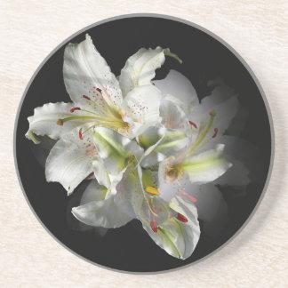 White Lilies Fantasy Beverage Coasters