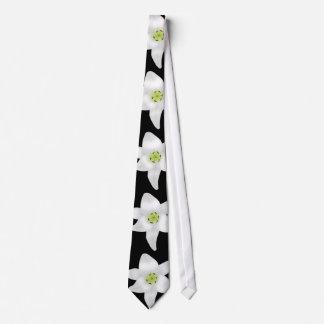 White Lilies on Black. Tie