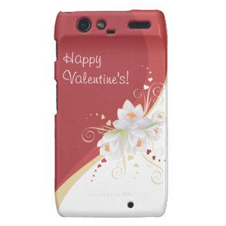 White Lilies on Red Swirl Valentine's Motorola Droid RAZR Cover