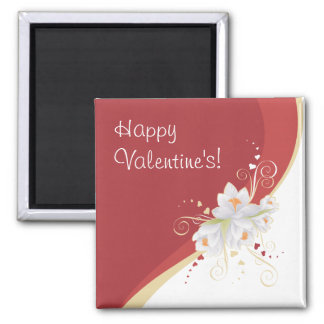 White Lilies on Red Swirl Valentine's Square Magnet