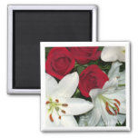 """""""White Lilies Red Roses"""" Magnet"""