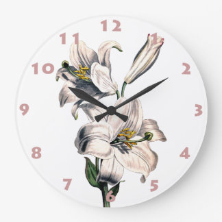 WHITE LILIES Wall Clock