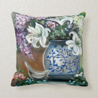 White Lillies and Hydrangeas Pillow