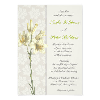 White Lillies Floral Wedding Invitation