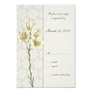 White Lillies Floral Wedding Invitation
