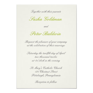 White Lillies Floral Wedding Invitation 1