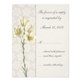 White Lillies Floral Wedding Invitation RSVP