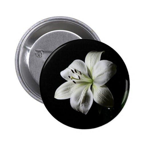 White Lilly Standard, 2¼ Inch Round Button