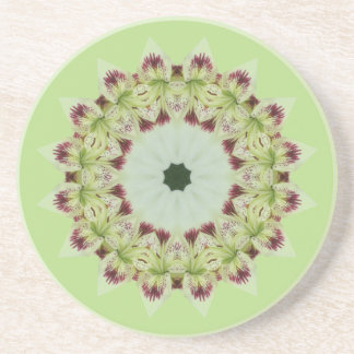 White Lily 16 Point Star Kaleidoscope Drink Coaster