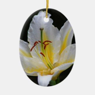 white lily ceramic oval decoration