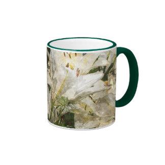 White Lily Easter Art Ringer Mug
