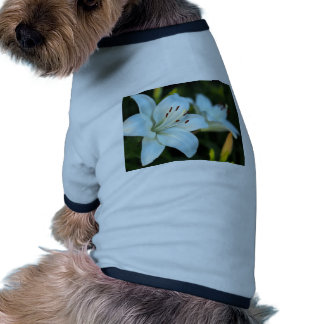 White Lily Flower Dog T-shirt
