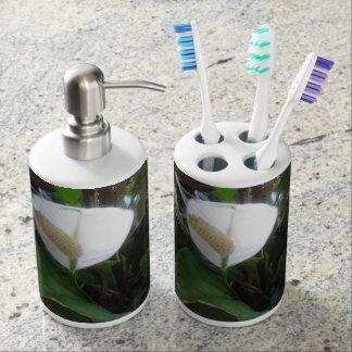 white lily flower soap dispenser and toothbrush holder