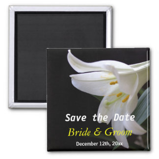 white lily flower wedding save the date fridge magnet