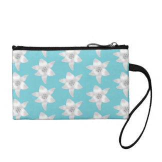 White Lily Flowers on a Teal - Turquoise Color. Coin Purse