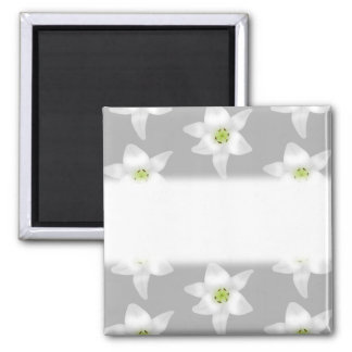 White Lily Flowers on Gray Background. Refrigerator Magnet