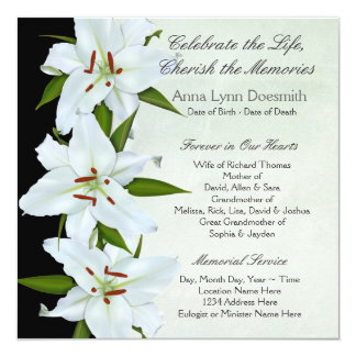 White Lily Funeral Announcements  Funeral Announcement Sample