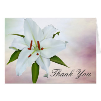 White Lily Funeral Thank You Cards