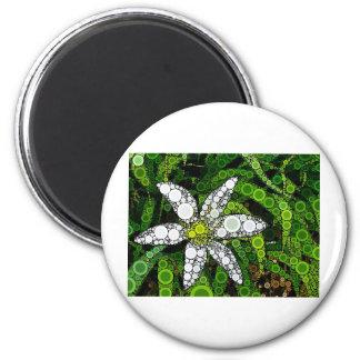 White Lily Mosaic Fridge Magnet