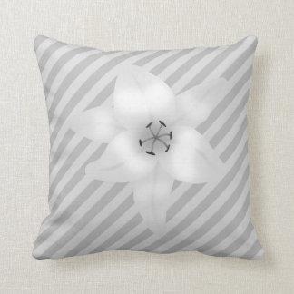 White Lily on a Gray Stripe Pattern. Cushion