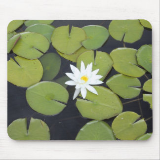 White lily pad mouse mat