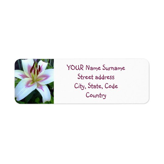 White Lily return Address Label