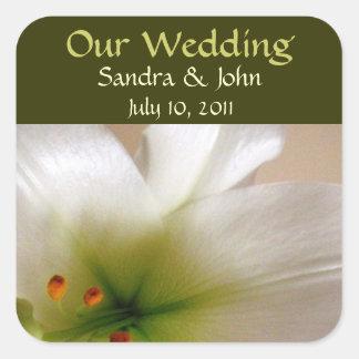 White Lily Wedding Stickers