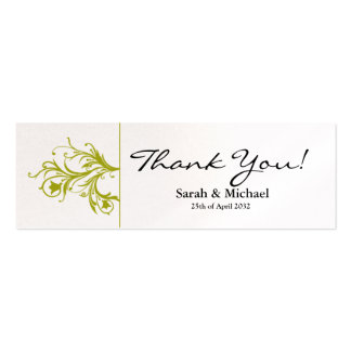 White & lime green floral Wedding favor Gift tag Pack Of Skinny Business Cards