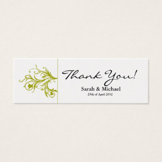 White & lime green floral Wedding favor Gift tag Mini Business Card