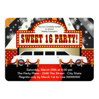 White Limo Movie Star Sweet 16 Party Card