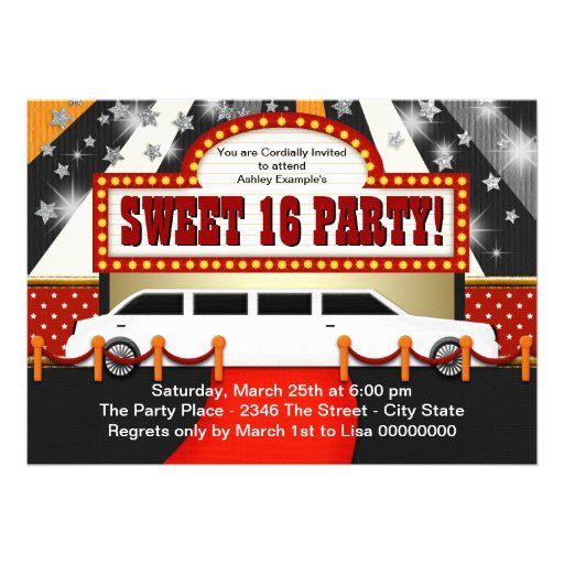 White Limo Movie Star Sweet 16 Party Personalized Invitation