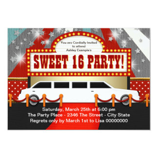 White Limo Movie Star Sweet 16 Party Invitations
