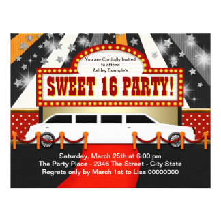 White Limo Movie Star Sweet 16 Party Invite