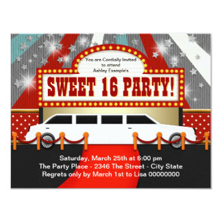 White Limo Movie Star Sweet 16 Party Custom Invitation