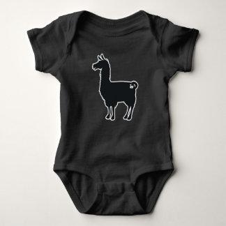 White Line Llama Baby Bodysuit