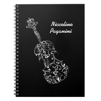 White Line Violin Drawing, Customizable Name Spiral Notebook