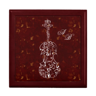 White Line Violin on Deep Red Large Square Gift Box