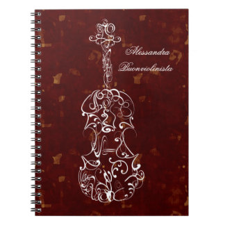 White Line Violin on Red Spiral Notebook