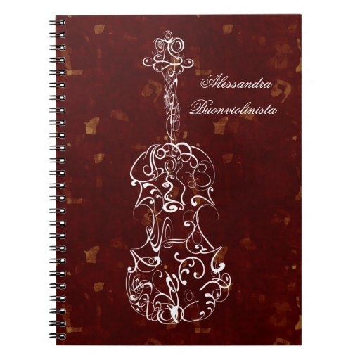 White Line Violin on Red Spiral Notebook