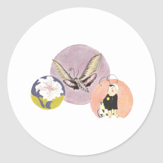 White-lined Sphinx and Petunia Classic Round Sticker