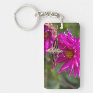 White-lined sphinx moth feeds on flower nectar 2 Double-Sided rectangular acrylic key ring