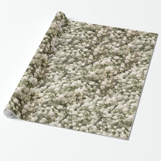 White Linen Baby's Breath Wrapping Paper