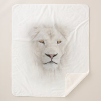 White Lion Head Medium Sherpa Fleece Blanket