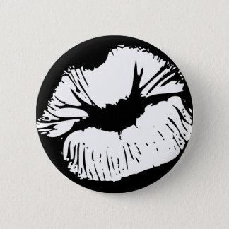 White Lips 6 Cm Round Badge