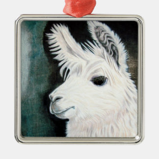 White Llama Christmas Ornament