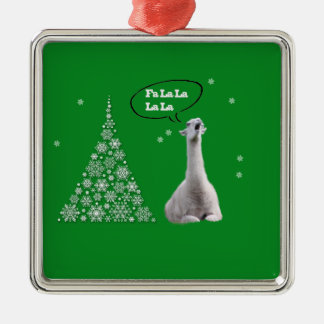 White Llama Sings Christmas Carol:Fa LaLaLa Lama Christmas Ornament