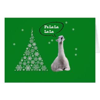 White Llama Sings Christmas Carol:Fa LaLaLa Lama Greeting Card