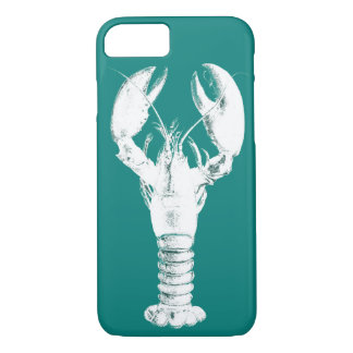 White Lobster on Turquoise / Teal iPhone 8/7 Case